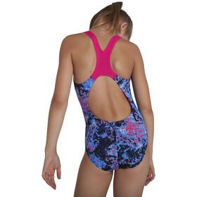 speedo Allover Splashback Swimsuit Girls, bubble black/begonia/light adriatic/galactic purple